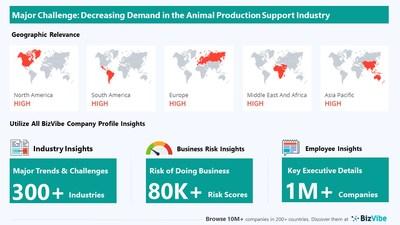 Snapshot of key challenge impacting BizVibe's animal production support industry group.