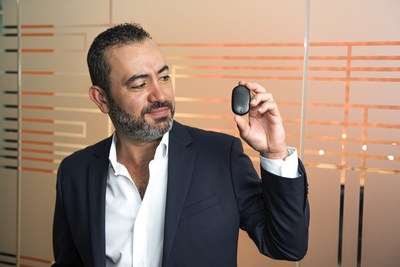 Will Lopes, Catapult CEO, holds the Catapult One pod, which comes with the new membership service for athletes training to get to the next level.