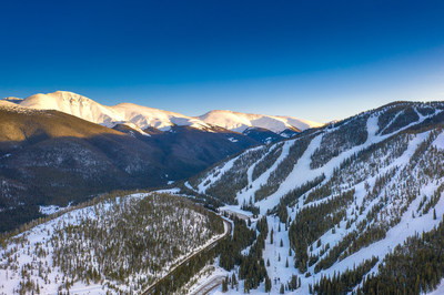 Winter alpenglow view of Parry's Peak, the Continental Divide and Winter Park Resort in Colorado.
