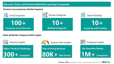 Snapshot of BizVibe's machine learning company profiles and categories.