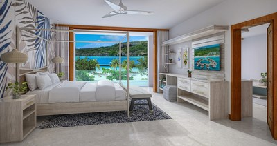 The Sunchi One Bedroom Beachfront Butler Suite at Sandals Royal Curaçao.