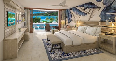 Sunchi Swim-up Club Level Beachfront Junior Suite with Patio Tranquility Soaking Tub at Sandals Royal Curaçao.