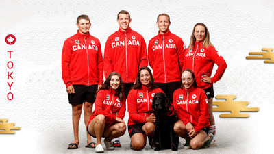 Canada's Tokyo 2020 Para rowing team, clockwise from top left: Kyle Fredrickson, Jeremy Hall, Andrew Todd, Jessye Brockway, Bayleigh Hooper, Victoria Nolan, and Laura Court. (CNW Group/Canadian Paralympic Committee (Sponsorships))