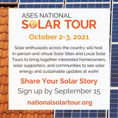 Help promote solar and sustainable living by getting involved in the National Solar Tour October 2-3. Deadline to sign up is September 15!