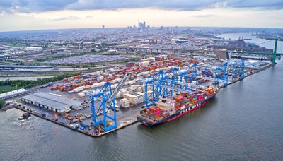 Aerial View of Cargo Ships at Port of Philadelphia (Photo by Brian E Kushner)