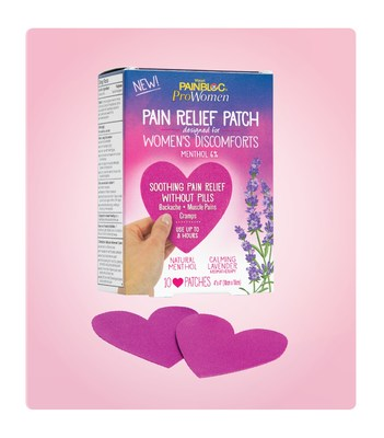 PainBloc24® ProWomen Pain Relief Patch designed for Women's Discomforts is formulated with natural soothing and pain-relieving ingredients and is specifically designed for women.